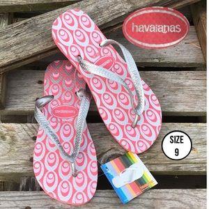Havaianas Flip Flops Retro Exp Silver Rose Pink 9